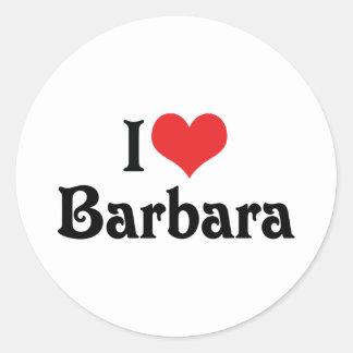 I Liebe Barbara Runder Aufkleber