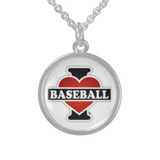 I Liebe-Baseball Sterling Silberkette