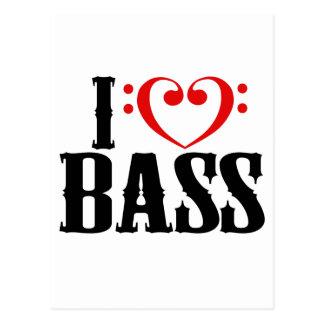 I Liebe-Baß, mit Bassschlüssel Herzen Postkarte