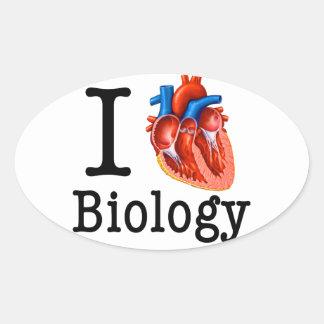 I Liebe-Biologie Ovaler Aufkleber