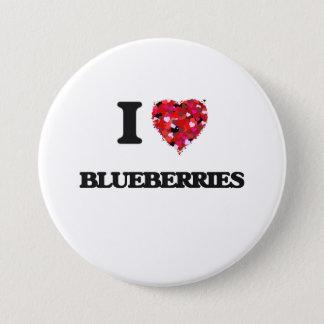 I Liebe-Blaubeernahrungsmittelentwurf Runder Button 7,6 Cm
