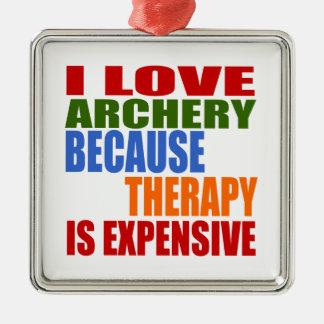 I Liebe-Bogenschießen, weil Therapie teuer ist Silbernes Ornament
