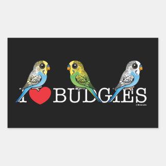 I Liebe Budgies Rechteckiger Aufkleber