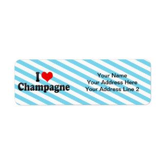 I Liebe Champagne Rücksendeetikett