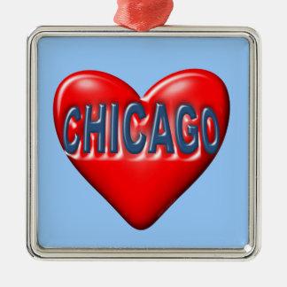 I Liebe Chicago Silbernes Ornament
