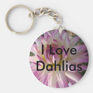 I Liebe-Dahlie-Schlüsselkette Standard Runder Schlüsselanhänger