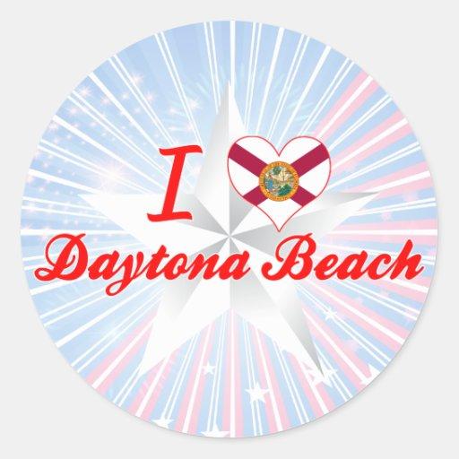 I Liebe Daytona Beach, Florida Runder Aufkleber