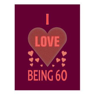 I Liebe, die 60 ist Postkarte