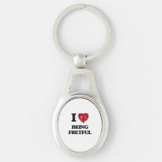 I Liebe, die ärgerlich ist Silberfarbener Oval Schlüsselanhänger