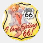 I Liebe, die Button des Weg-66 herauf Mädchen Runder Aufkleber
