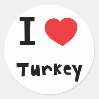 I Liebe die Türkei Runder Aufkleber