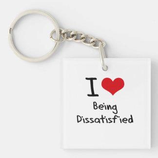 I Liebe, die unzufrieden gemacht wird Beidseitiger Quadratischer Acryl Schlüsselanhänger