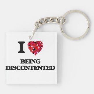 I Liebe, die unzufrieden ist Beidseitiger Quadratischer Acryl Schlüsselanhänger