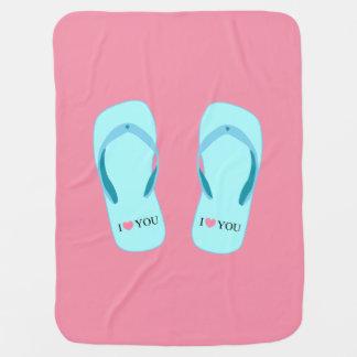 I Liebe drehen Sie Türkis Reinfall-rosa Baby-Decke Kinderwagendecke