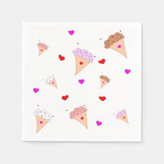 I Liebe-Eiscreme, Kegel-Herz-Aroma-Muster Papierserviette