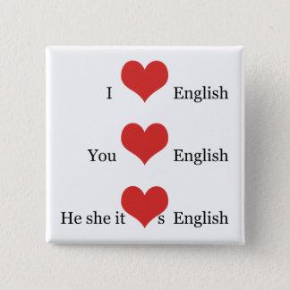 I Liebe englische TESOL Quadratischer Button 5,1 Cm
