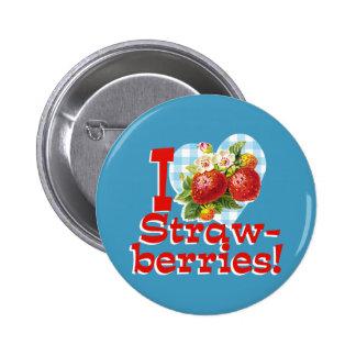 I Liebe-Erdbeeren Runder Button 5,7 Cm