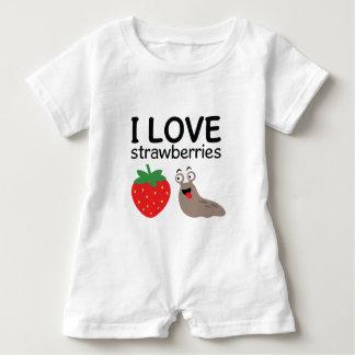 I Liebe-Erdbeerillustration Baby Strampler