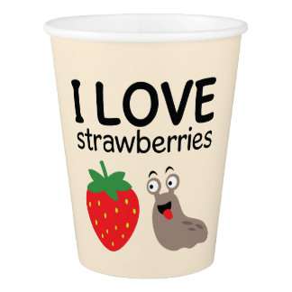 I Liebe-Erdbeerillustration Pappbecher