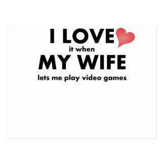 I Liebe es, wenn meine Ehefrau mich Videospiele Postkarten