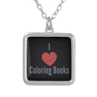 I Liebe-Farbton-Buch-Halskette Versilberte Kette