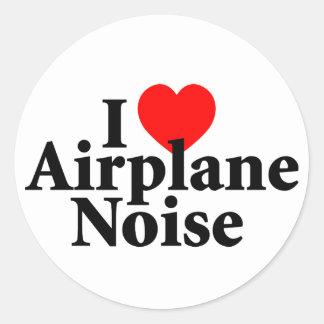 I Liebe-Flugzeug-Geräusche Runder Aufkleber