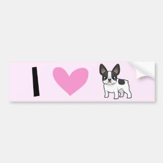 I Liebe-französische Bulldoggen Autoaufkleber