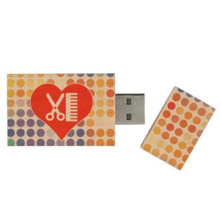 I Liebe-Friseur Holz USB Stick