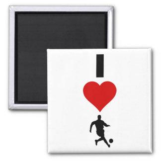 I Liebe-Fußball (vertikal) Quadratischer Magnet