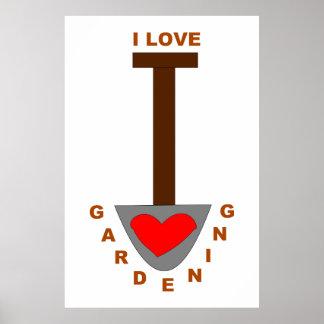 I Liebe-Gartenarbeit-Spaten-Plakat Poster