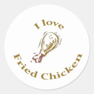 I Liebe-gebratenes Huhn-Aufkleber Runder Aufkleber