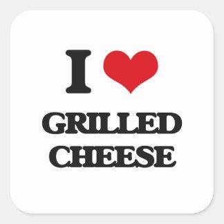 I Liebe gegrillter Käse Quadratsticker