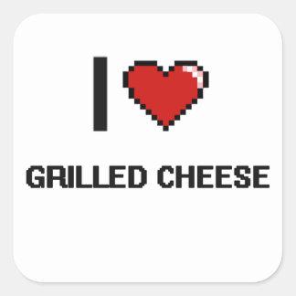 I Liebe gegrillter Käse Quadrat-Aufkleber