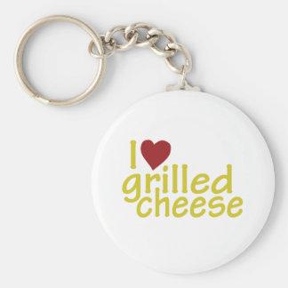 I Liebe gegrillter Käse Standard Runder Schlüsselanhänger