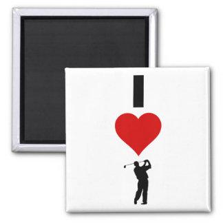 I Liebe-Golf (vertikal) Quadratischer Magnet