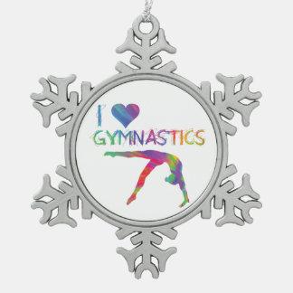 I Liebe-Gymnastik-Zinn-Schneeflocke-Verzierung Schneeflocken Zinn-Ornament