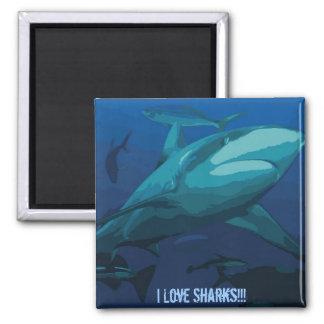 I Liebe-Haifisch-Magnet Quadratischer Magnet