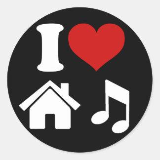 I Liebe-Haus-Musik-Aufkleber