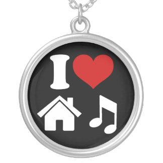 I Liebe-Haus-Musik-Halskette Versilberte Kette