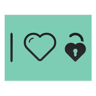 I Liebe-Heartshaped Verschluss Postkarte