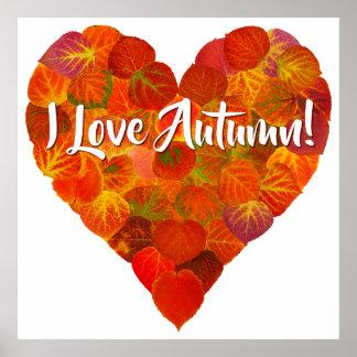 I Liebe-Herbst! - Rotes Aspen-Blatt-Herz 1 Poster