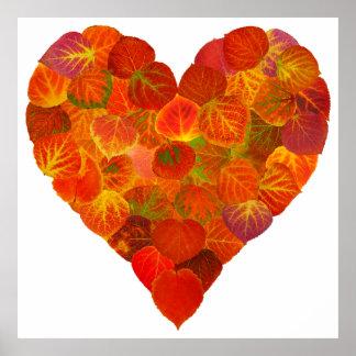 I Liebe-Herbst, Subtil-Rotes Aspen-Blatt-Herz 1 Poster