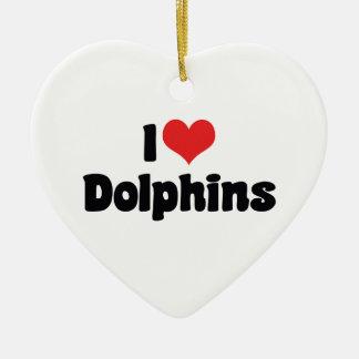 I Liebe-Herz-Delphine - Delphin-Liebhaber Keramik Ornament