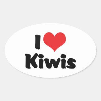 I Liebe-Herz-Kiwis - Kiwi-Vogel-Liebhaber Ovaler Aufkleber