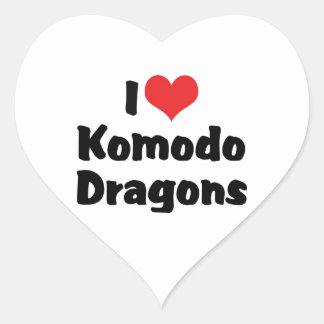 I Liebe-Herz Komodo Drachen Herz-Aufkleber