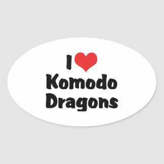 I Liebe-Herz Komodo Drachen Ovaler Aufkleber