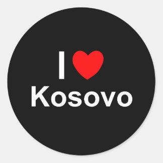 I Liebe-Herz Kosovo Runder Aufkleber