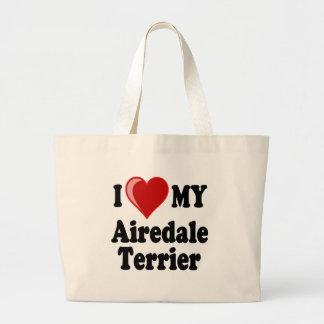 I Liebe (Herz) mein Airedale-Terrier-Hund Jumbo Stoffbeutel