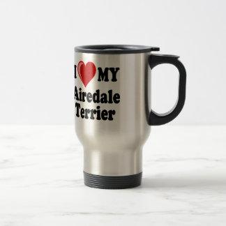 I Liebe (Herz) mein Airedale-Terrier-Hund Reisebecher