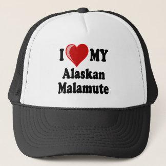 I Liebe (Herz) mein alaskischer Malamute-Hund Truckerkappe